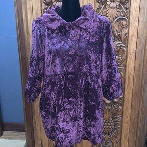 EUC Ashley Judd large purple crushed velvet coat